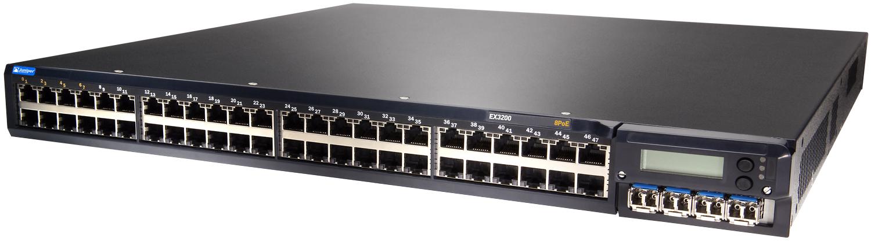 Juniper EX3200-48T, все порты гигабитные, возможно установить дополнительные модули - в т.ч. 10 гигабит. При этом отключаются 4 последние порта