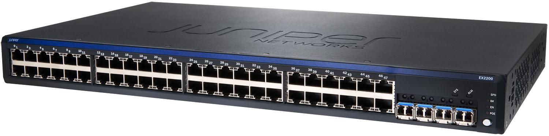 Juniper EX2200-48T-4G, все порты гигабитные, 4 назависимых SFP модуля