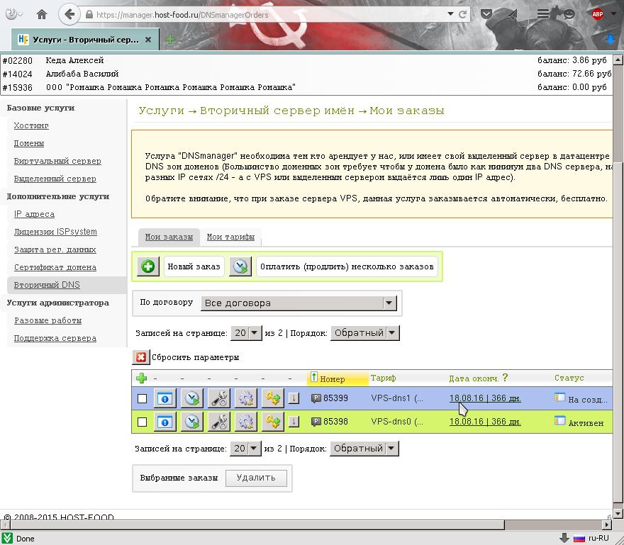 Второй заказ на панель управления записями ДНС / DNS ещё не  активен