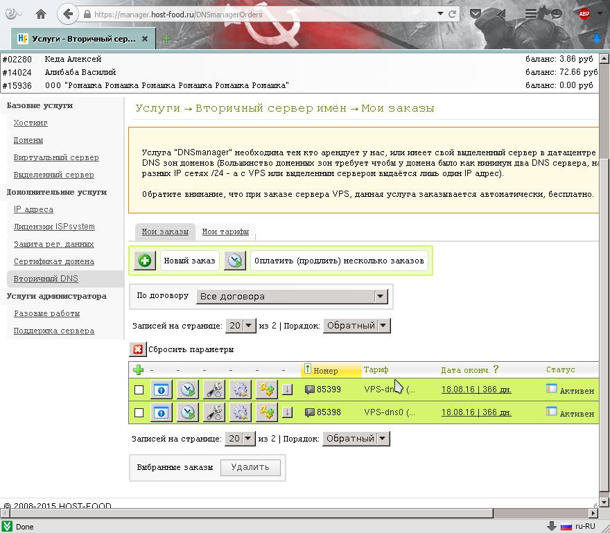 Оба заказа на панель управления записями в доменной ДНС / DNS зоне активны