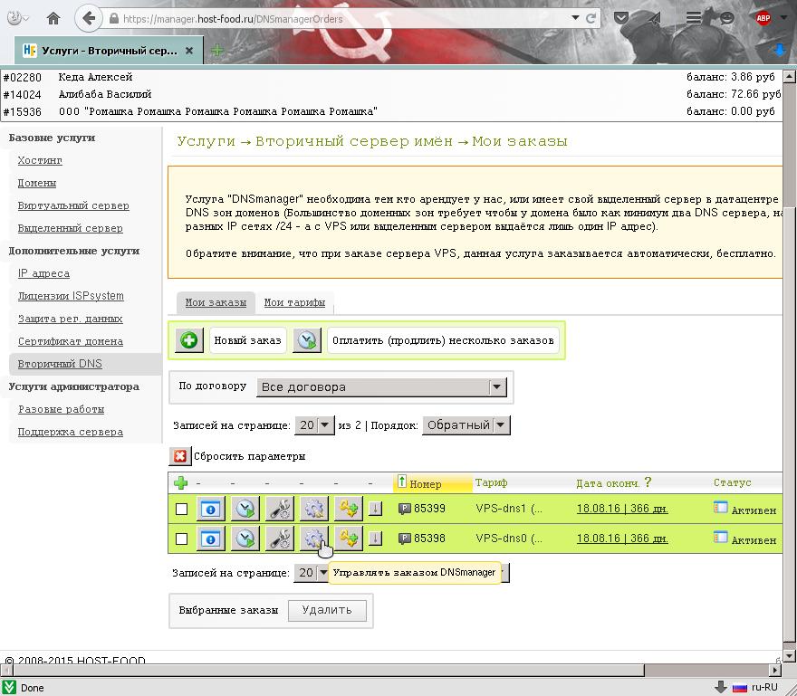 Переходим в панель управления по редактированию записей DNS / ДНС