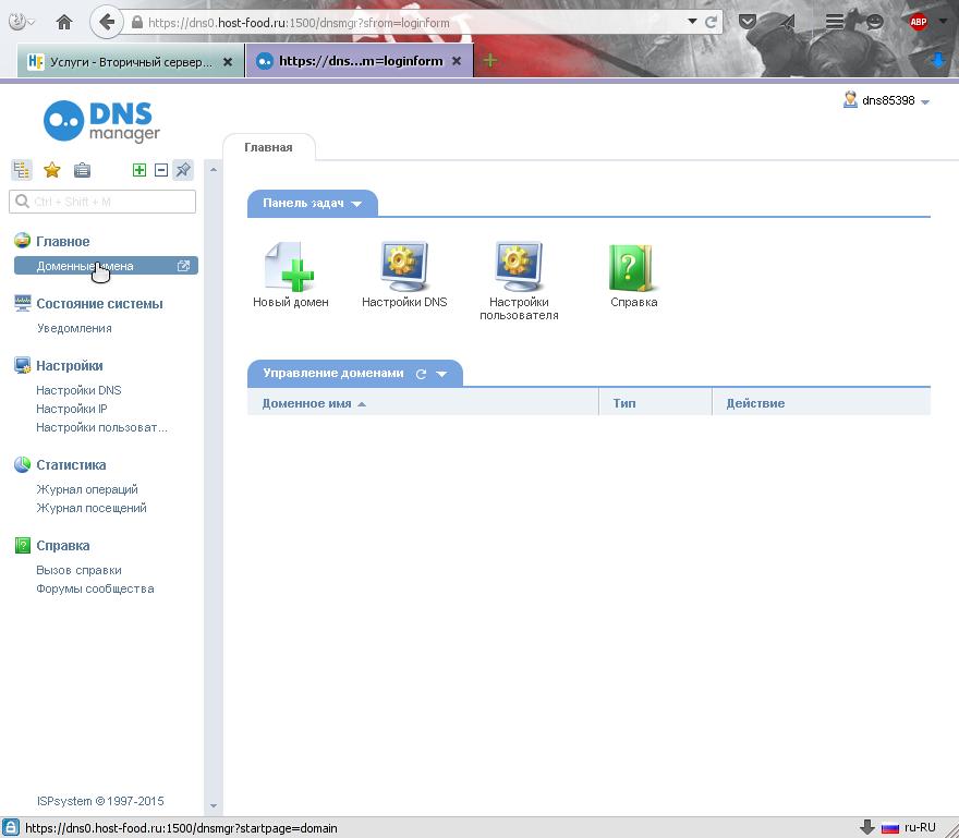 В панели управления записями в ДНС / DNS переходим в раздел доменных имён