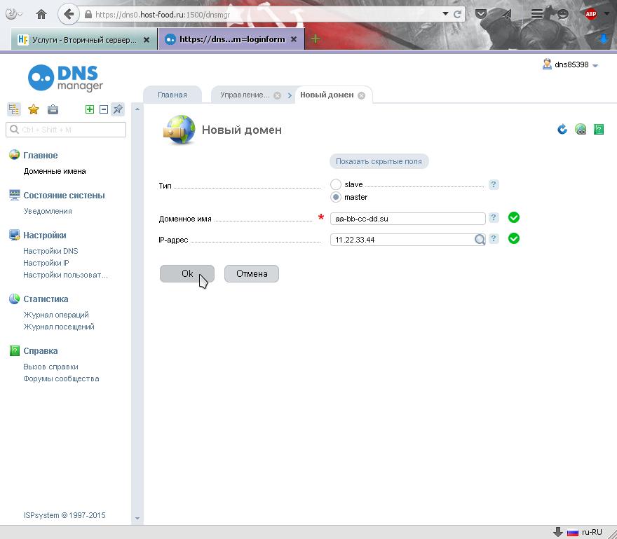 добавляем доменное имя ДНС / DNS зоной которого будем управлять