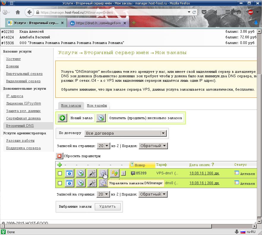 биллинговая панель, управление вторичными ДНС серверами