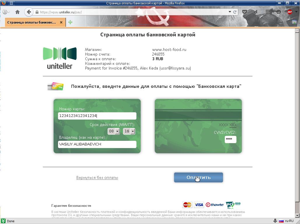 вводим данные карты МИР / VISA / MasterCard