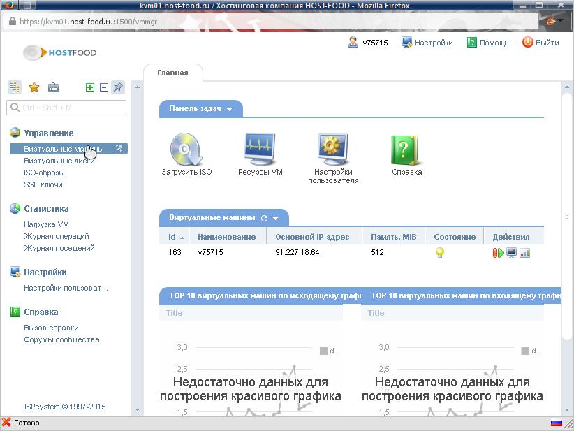 панель управления виртуальным сервером, раздел виртуальных машин