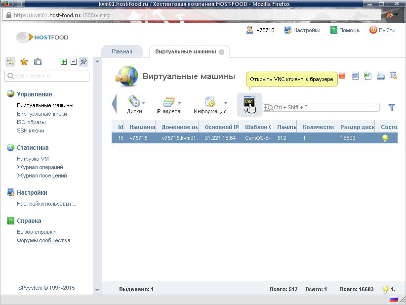 браузерный клиент VNC для виртуального сервера